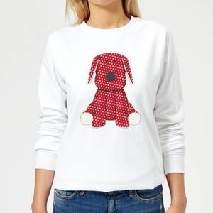 Candlelight Red Polka Dot Dog Teddy Women's Sweatshirt - White