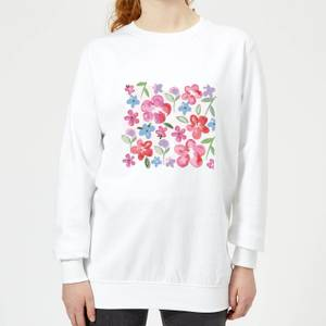 Candlelight Spring Pansy Flower Bed Women's Sweatshirt - White