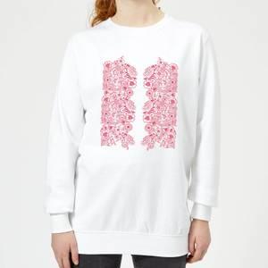 Candlelight Elegant Floral Pattern Women's Sweatshirt - White