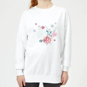 Candlelight Water Colour Flower Bouquet Women's Sweatshirt - White