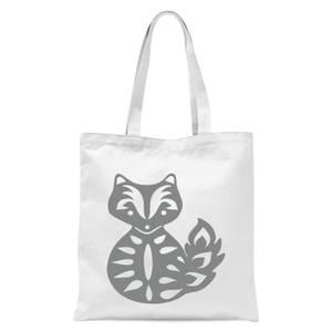 Folk Silhouette Fox Cutout Tote Bag - White