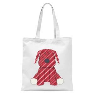 Red Polka Dot Dog Teddy Tote Bag - White