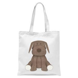Brown Dog Teddy Tote Bag - White