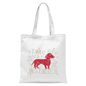 Time For Walkies Cutout Sausage Dog Tote Bag - White
