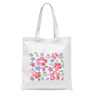 Spring Pansy Flower Bed Tote Bag - White