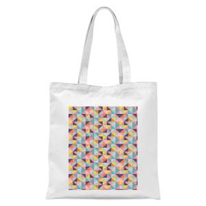 Funky Colourful Square Checkered Pattern Tote Bag - White