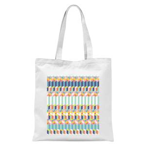 Funky Colourful Three Dimensional Checkered Pattern Tote Bag - White