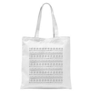 Winter Pattern Tote Bag - White