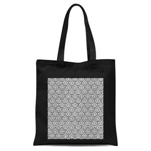 Lace Fabric Pattern Tote Bag - Black