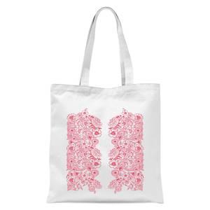 Elegant Floral Pattern Tote Bag - White
