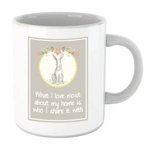 Hare Frame What I Love Most About My Home Is Who I Share It With Mug