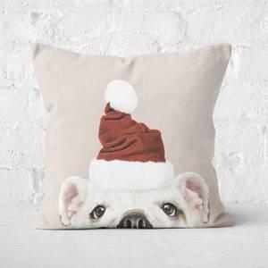 Christmas Bulldog Square Cushion