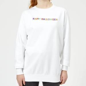 Colourful Happy Halloween Women's Sweatshirt - White