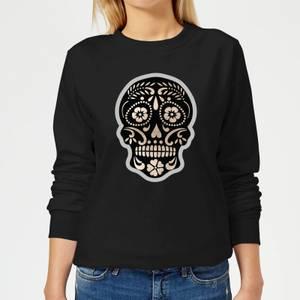 Day Of The Dead Skull Women's Sweatshirt - Black