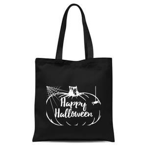 Happy Halloween Pumpkin Tote Bag - Black