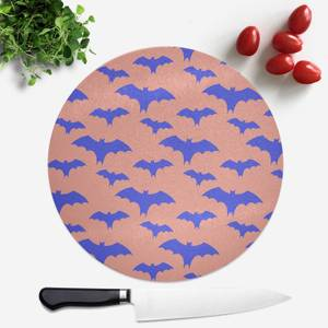 Blue And Coral Bat Pattern Round Chopping Board