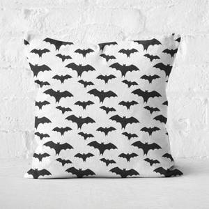 Black And White Bat Pattern Square Cushion