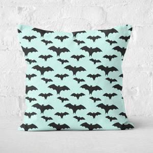 Black And Blue Bat Pattern Square Cushion
