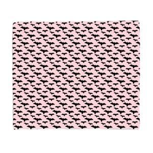 Black And Pink Bat Pattern Fleece Blanket