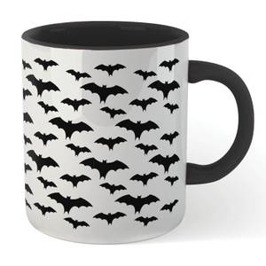 Black Bat Pattern Mug - White/Black