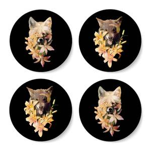 Fox And Wolf Flowers Coasters Coaster Set