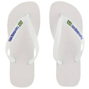 Havaianas Unisex Brasil Logo Flip Flops - White