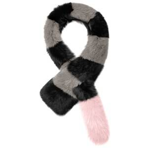 Charlotte Simone Women's Big Daddy Faux Fur Scarf - Grey/Black/Powder Pink Tail